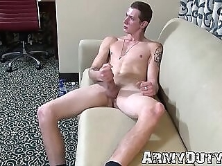 Soldier pours lotion all over his dick for more pleasure gay jerk off big dick