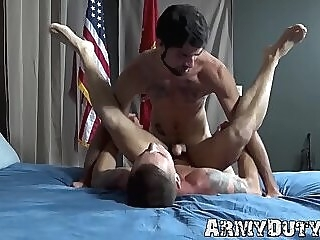 Tattooed soldiers Lee Roy Jones and Mike O Brian bareback gay big dick jock