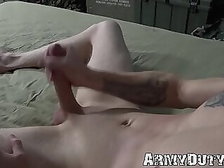 Solo masturbation with athletic tattooed soldier Jesse Nice gay big dick jock