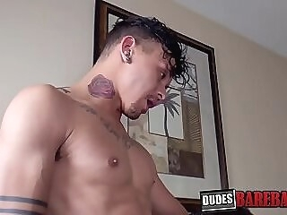 Latino gay dude sucks on dick before hardcore bareback gay big dick deepthroat