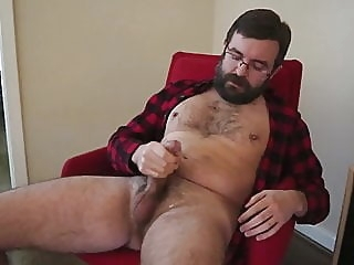 Logan's cumshot in red flannel amateur (gay) bear (gay) big cock (gay)