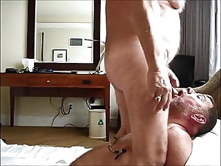Daddy bear deepthroats another old bear's cock amateur (gay) bear (gay) blowjob (gay)