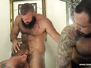 Julian Torres, Tony Zucchero and Alex Tikas (DD) bareback bear group sex