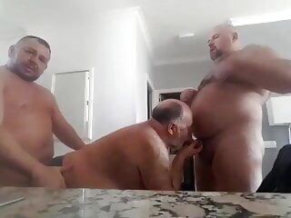 Bearded Chubby Bears 3-WAY: BJ-BB-KISSING-ATM BJ-HJ-BB amateur bareback bear