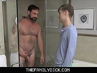 Twink Step Son Caught Recording Step Dad In Family Shower stepdad step dad stepson