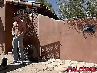 Handsome studs are going for deep bare hammering outside outdoor hardcore hunk