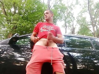 polish scally lad wanking in the forest amateur masturbation outdoor